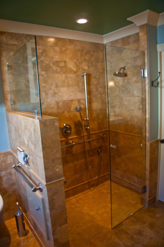 ADA shower and toilet partial wall
