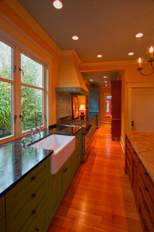 View toward original corridor portion of the kitchen.