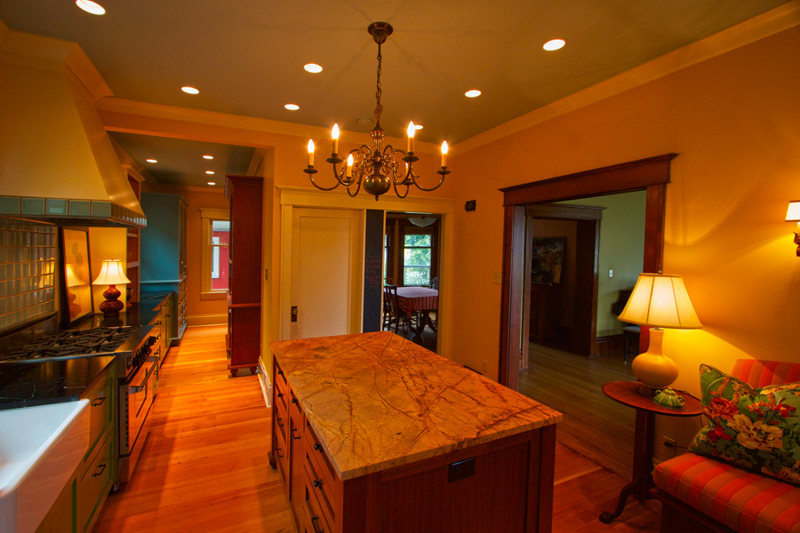 View toward the dining & living area. Note blackboard strip.