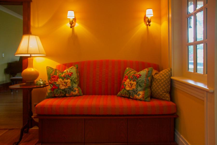Custom pillows, cushions & lamp by Mary Hansen Design.