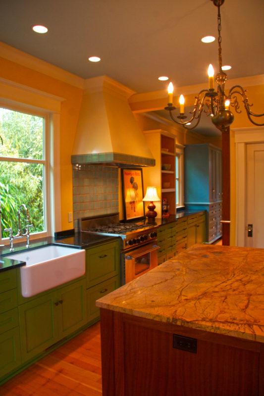 Farm sink & Yellow Damasco marble island counter.