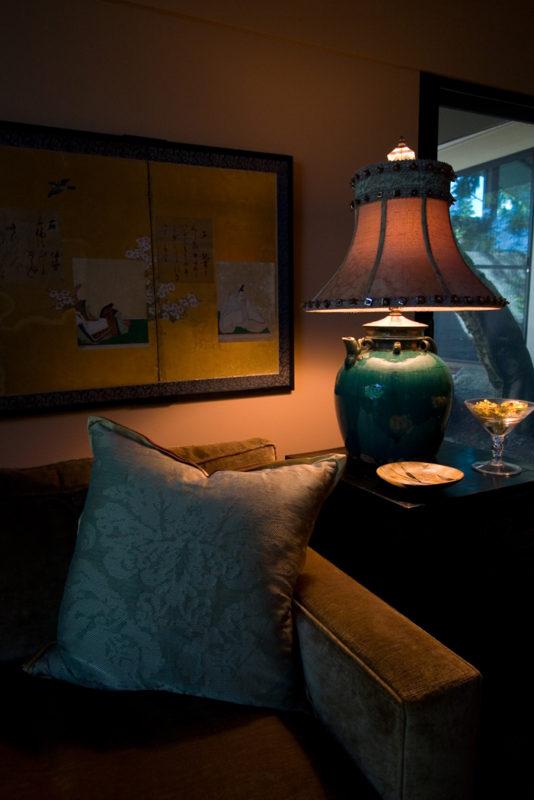 Sofa Corner, Pillow & Lamp