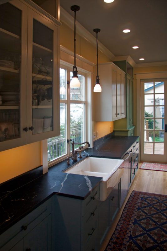 Soapstone counters, large double Fireclay Kitchen Sink.