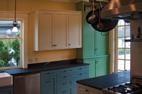 Custom, hand painted, cabinetry and hardware.
