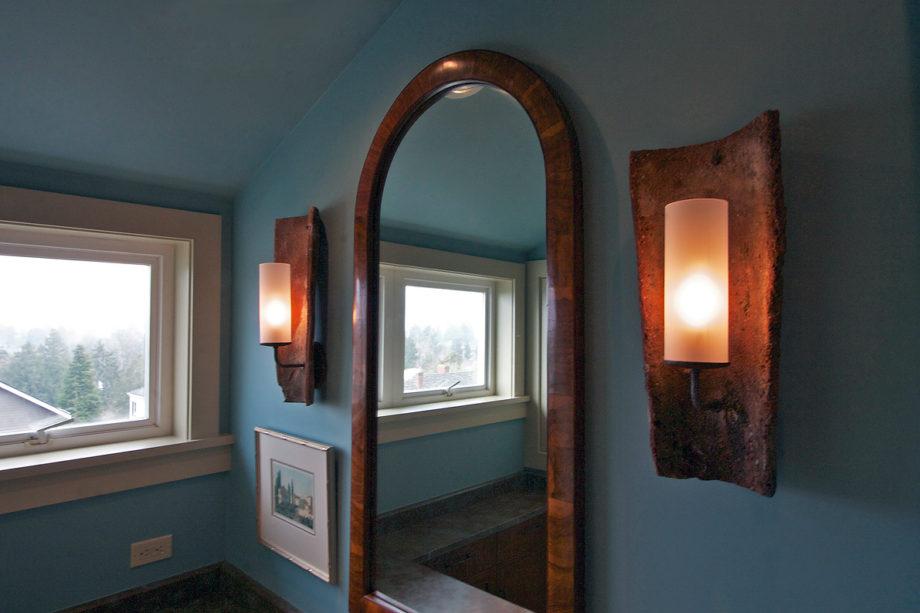 Vanity Wall - Antique Mirror & Custom Sconces