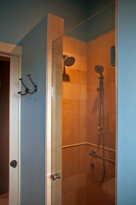 View of Shower Interior & Bathroom Entry Wall