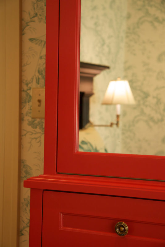 Custom Lacquered Armoire Mirrored Door & Detail