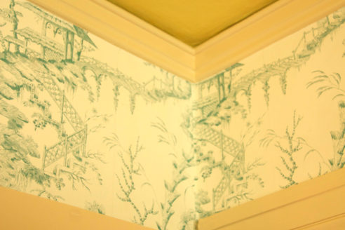 Corner Detail of Wallpaper, Pratt & Lambert Paint in