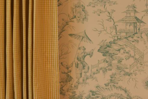 Soleil Bleu Drapery & Scalamandre Wallpaper