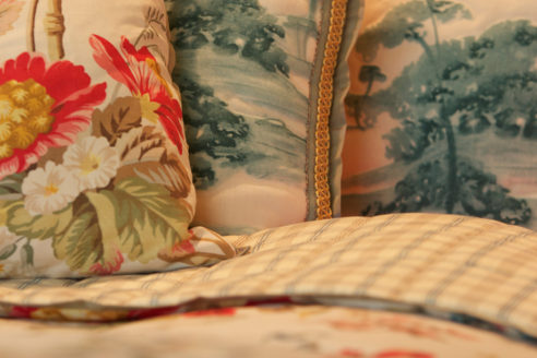 Pillows in Colony & Jane Shelton Fabrics
