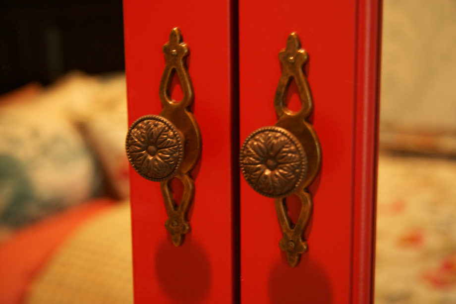 Custom Lacquered Armoire Door Hardware